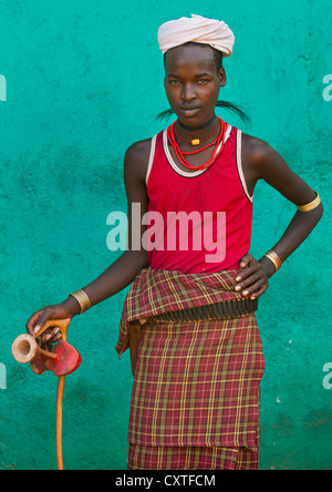 Colourful Erbore Tribe Man With Headrest And A Necklace Made Of Giraffe Hair, Turmi, Omo Valley, Ethiopia - Stock Photo