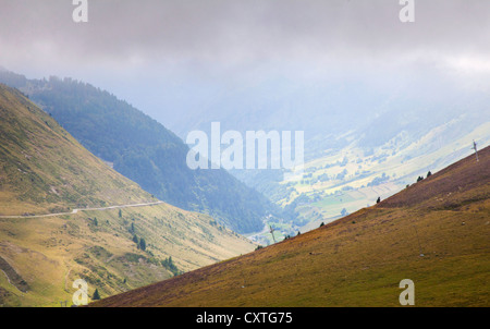 Mountain scenery on the Col du Tourmalet - Tour de France route - in the Haute Pyrenees, France - Stock Photo