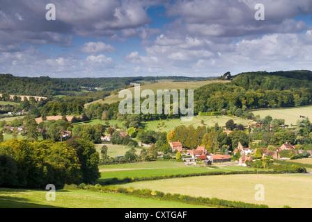 Bucks - Chiltern Hills - Fingest village - Cobstone Hill - Turville Valley - seen from the Chiltern Way footpath - Stock Photo