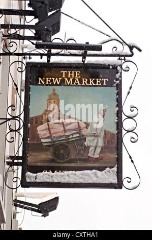 the new market pub sign - Stock Photo