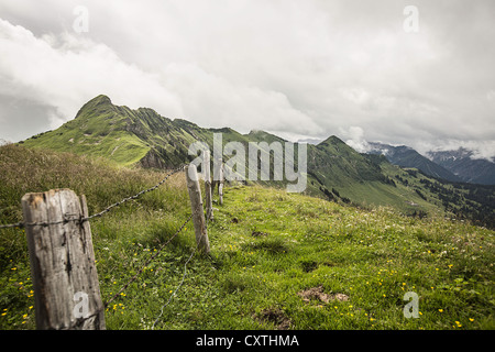 Wire fence on grassy rural hillside - Stock Photo