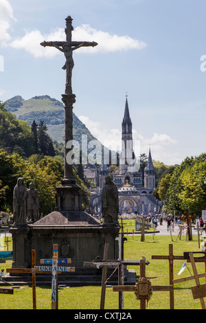 Sanctuary of Lourdes, Hautes Pyrenees, France - Stock Photo