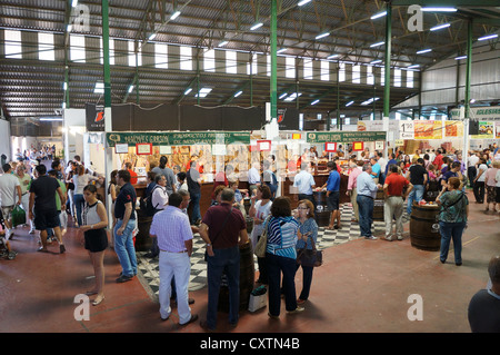 the participantes visit fair International Livestock agro-industrial exhibition, Area Agro-Food Products, at Zafra, - Stock Photo