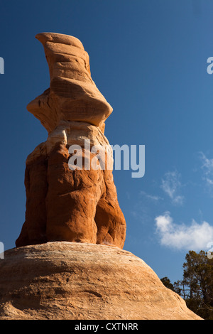 Hoodoo rock formations at Devil's Garden along Hole in the Rock Road in the Grand Staircase-Escalante National Monument - Stock Photo