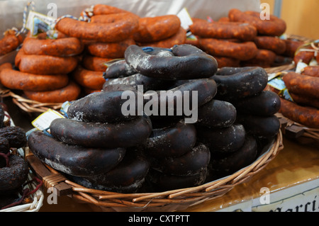 a morcillas, typical Spanish sausage, the fair International Livestock agro-industrial exhibition, view spanish - Stock Photo