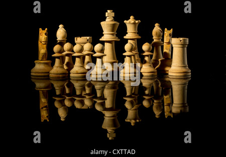 Ready for battle, White Chess pieces with reflection - Stock Photo