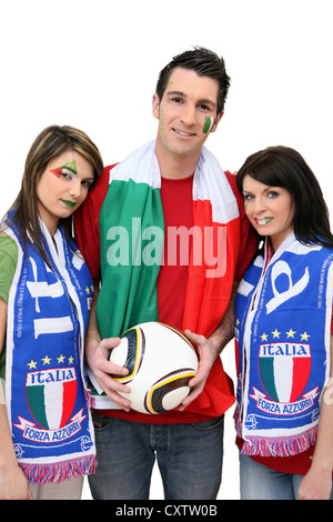 Three Italian football supporters - Stock Photo