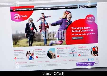 Virgin Money website - credit card - Stock Photo