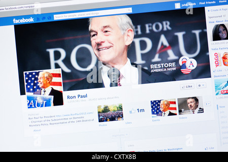 Ron Paul Facebook website - Stock Photo