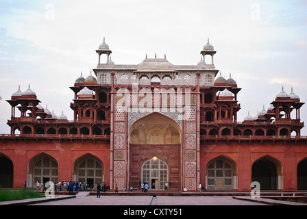Akbar's Mausoleum, the sandstone and marble tomb at dusk - Stock Photo