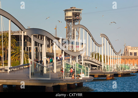 Barcelona, Spain. Rambla de Mar wooden walkway in Port Vell area. - Stock Photo