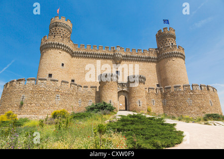 Manzanares el Real, Comunidad de Madrid, Spain. The 15th century Castle of the Mendoza. - Stock Photo