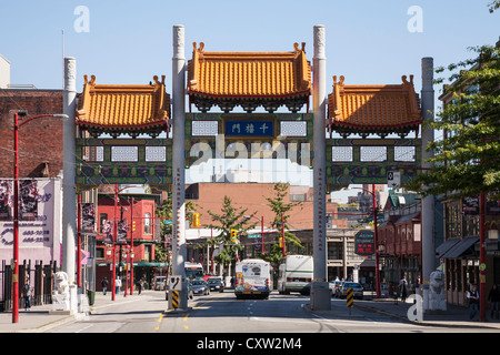 Millennium Gate on Pender Street, Chinatown, Vancouver - Stock Photo