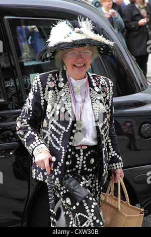 Pearly Kings and Queens at the Guildhall in London - Stock Photo