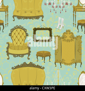 Seamless pattern with antique furniture - Stock Photo
