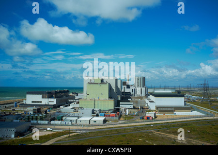 Dungeness Nuclear Power Station from the top of the old lighthouse, Dungeness Kent UK - Stock Photo