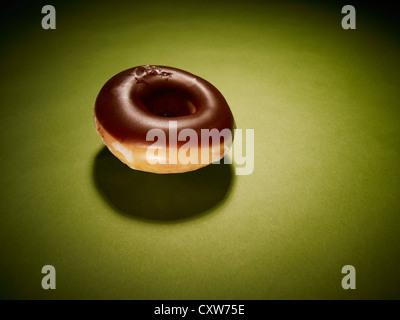 Shiny chocolate ring donut - Stock Photo