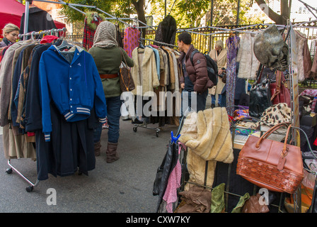 New York City, NY, USA, Women Vintage Clothes Shopping at Street Festival in Greenwich Village Area, on Greenwich - Stock Photo