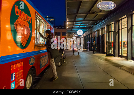 New York City, NY, USA, Street Scenes, Man Cleaning Food Truck 'Valducci' at Night, in the Meatpacking District, - Stock Photo