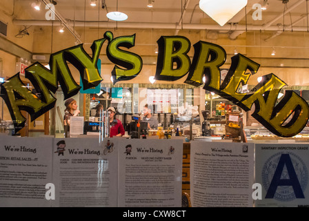 New York City, NY, USA, 'Amy's Bread' American Bakery Shop Front Window Sign, in the Chelsea Market, Shopping Center, - Stock Photo