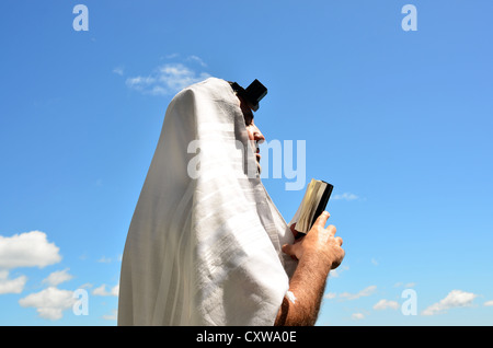 A Jewish man wearing Tallit and Tefillin read from the Torah book pray to God under a blue sky with sheep clouds. - Stock Photo