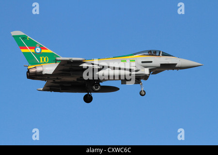 Eurofighter Typhoon FGR4 jet fighter plane of the Royal Air Force or RAF, in special colours commemorating the 100th - Stock Photo