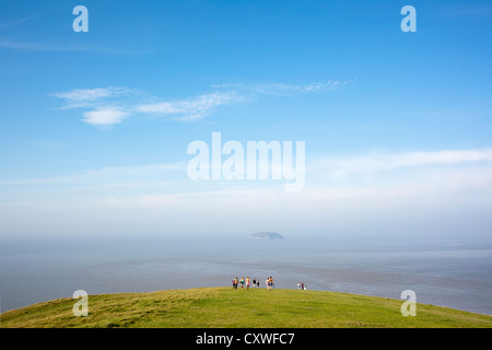 View from cliff edge over Bristol Channel onto Steep Holm Island at Brean Down, Somerset, England - Stock Photo