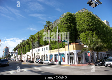 collins ave shopping street in miami south beach florida usa - Stock Photo