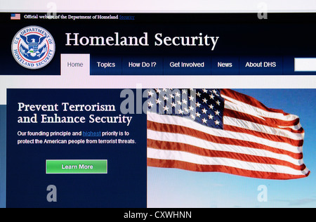 The USA Homeland security web site - Stock Photo