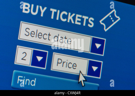 Close up of a fictional website inviting users to buy tickets after entering search details. - Stock Photo