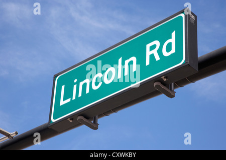 lincoln road street sign sobe miami south beach florida usa - Stock Photo