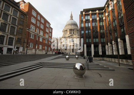 an interesting view of Saint Paul's Cathedral from a distance, London,U.K., city, europe, photoarkive - Stock Photo
