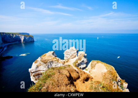 Aerial view of cliffs overlooking ocean - Stock Photo