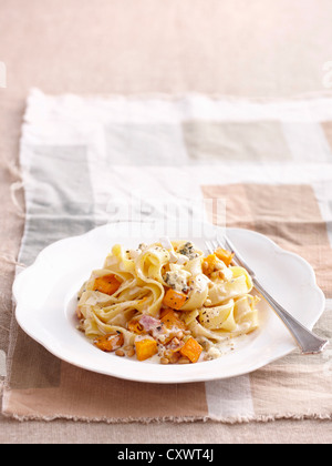 Plate of chicken and vegetable pasta