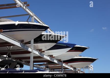 Boat storage at the marina - Stock Photo