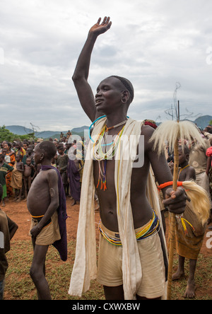 Suri Tribe Man Dancing At A Ceremony Organized By The Government, Kibish, Omo Valley, Ethiopia - Stock Photo