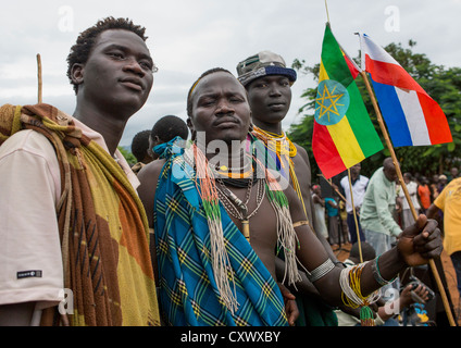 Suri Tribe Men At A Ceremony Organized By The Government, Kibish, Omo Valley, Ethiopia - Stock Photo