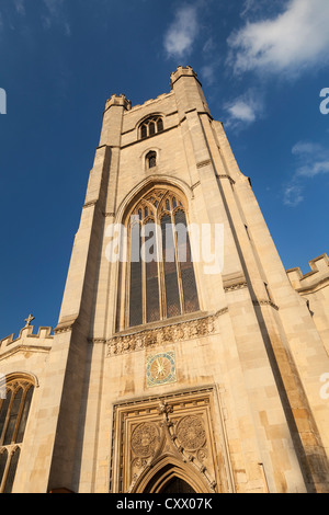 The church of Great St Mary's in Cambridge bathed in sunset light, England - Stock Photo