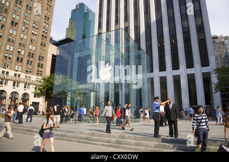 The famous glass cube entrance to the Apple Store on 5th Avenue at 59th Street in Manhattan; NYC.(GM Building in - Stock Photo