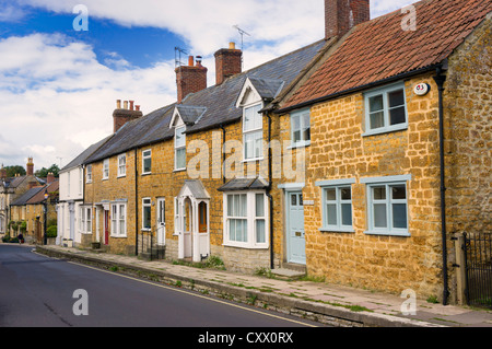 Row of old terraced houses in Castle Cary, Somerset, UK - Stock Photo