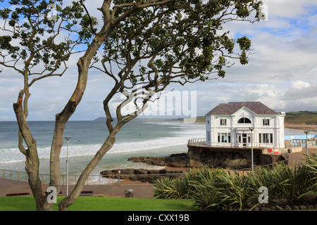 The Arcadia building on the seafront at East Strand beach in Portrush, County Antrim, Northern Ireland, UK - Stock Photo