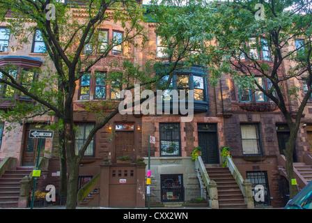 New York City, NY, USA, Street Scenes, Townhouses, Row House, Brownstone Buildings in Harlem Area, Morris-Jumel, - Stock Photo