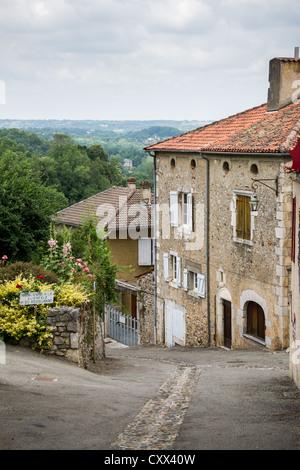Streets of small town Saint-Bertrand-de-Comminges. Hautes-Pyrénées, France. - Stock Photo