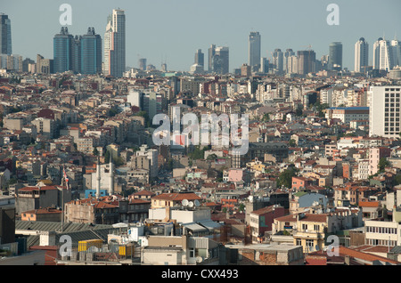 ISTANBUL, TURKEY. An elevated view over Beyoglu towards the business and financial districts of Levent and Sisli. - Stock Photo
