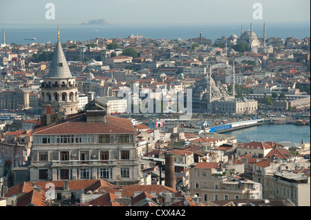 ISTANBUL, TURKEY. A view over the rooftops of Beyoglu to the historic centre of the old city. 2012. - Stock Photo