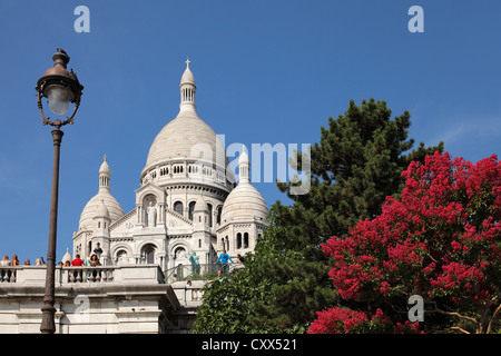 Sacre Coeur Basilica in Montmartre; The Basilica of the Sacred Heart of Paris;  Basilique du Sacré-Coeur de Montmartre - Stock Photo