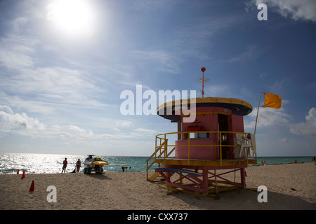 miami south beach 10th street lifeguard ocean rescue tower florida usa - Stock Photo