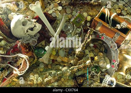 Pirate treasure display in casino on board Royal Caribbean 'Grandeur of the Seas' cruise ship, Mediterranean, Europe - Stock Photo