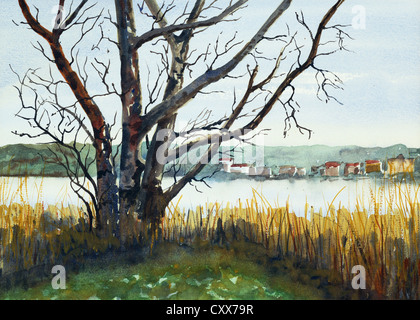 a watercolor painting showing a view across Linlithgow Loch, West Lothian, Scotland - Stock Photo