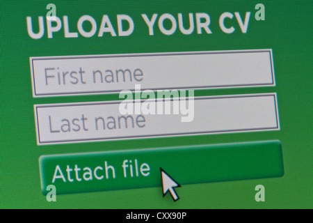 Close up of a fictional website inviting users to upload their CV and enter their contact details. - Stock Photo